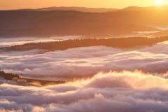 Fenômeno do tempo do verão Paisagem sazonal com névoa da manhã no vale As nuvens embeberam o vale abaixo do nível das montanhas imagens de stock
