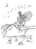 Fen sitter i blickar för ett filialträd på månen royaltyfri illustrationer