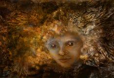 Fen som är med kronan av fjädrar, iluustration i brun sepia, tonar Royaltyfria Bilder
