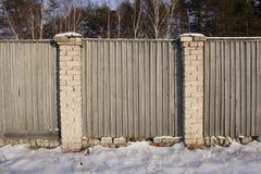 Fence-01 en bois gris Images libres de droits