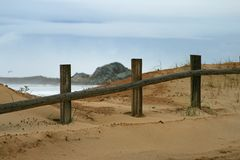 The fence. An old fence by the beach Royalty Free Stock Photography