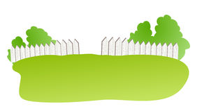 Fence. White fence with green lawn in a white background Royalty Free Stock Photos