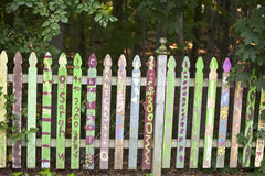 Fence. Colorful fence in the garden Stock Image