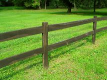 Fence. Wooden fence in park. Grass and tree Royalty Free Stock Photo
