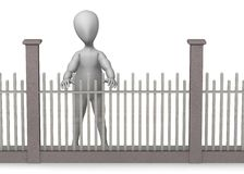 Fence. 3d render of cartoon character with fence Royalty Free Stock Photography