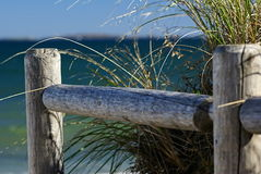 The Fence. A post fence and grasses with the ocean beyond stock photography