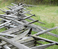Fence. Old split rail fence dividing a field Stock Photos