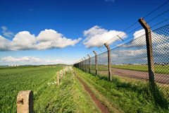 The fence. East midlands airport fence wide angle view royalty free stock photos