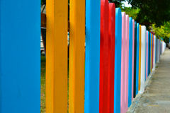Fence. A colorful painted wooden fence. The word can be easily removed Royalty Free Stock Photography