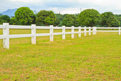 Fence. Cowboy fence on nice green meadow and mountain royalty free stock photos