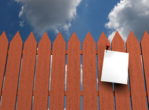 Fence. A message paper on fence stock illustration