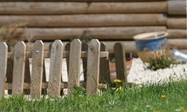 Fence. A small wooden fence and patch of grass Stock Photography