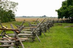 Fence. Wooden Civil War Fence in a field Stock Photography
