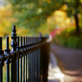Fence against beautiful bokeh background Stock Image