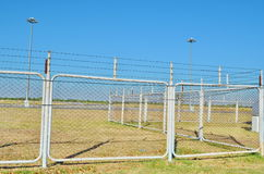 Fence of the airport. Barbed wire fence of the airport Royalty Free Stock Photos