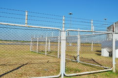 Fence of the airport. Barbed wire fence of the airport Stock Photography