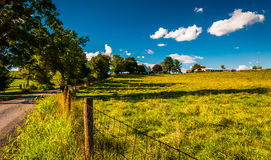 Fence along a dirt road in the Shenandoah Valley, Virginia. Royalty Free Stock Photography
