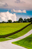 Fence along a driveway in rural York County, Pennsylvania. Royalty Free Stock Photos