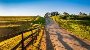 Fence along a farm road in rural York County, Pennsylvania. Stock Photography