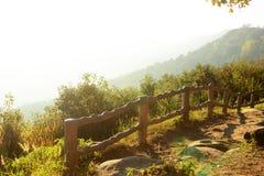 Fence along mountain Royalty Free Stock Image
