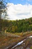 Fence along mountain road at autumn, Radocelo mountain. Central Serbia Stock Photo