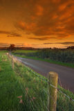 Fence alongside a country lane Stock Photo