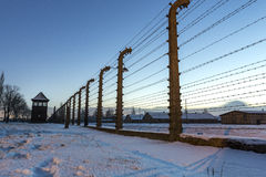 Fence around concentration camp of Auschwitz Birkenau, Poland Stock Photography
