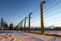 Fence around concentration camp of Auschwitz Birkenau, Poland Royalty Free Stock Image