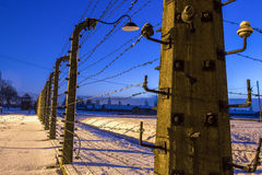 Fence around concentration camp of Auschwitz Birkenau, Poland Stock Photos