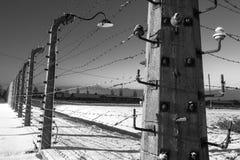 Fence around concentration camp of Auschwitz Birkenau, Poland Stock Image