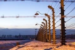 Fence around concentration camp of Auschwitz Birkenau, Poland Royalty Free Stock Photo