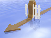 Fence and arrow. Brown arrow and fence on water reflective background, 3D illustration Stock Images