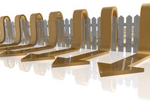 Fence and arrows. Brown arrows and fence on white reflective background, 3D illustration Royalty Free Stock Photography