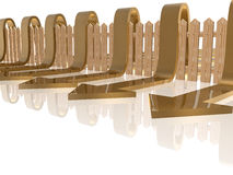 Fence and arrows. Brown arrows and fence on white reflective background, 3D illustration Royalty Free Stock Photos