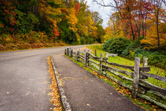 Fence and autumn color along the Blue Ridge Parkway in Julian Pr. Ice Park, North Carolina Royalty Free Stock Image