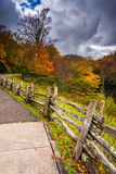 Fence and autumn color along the Blue Ridge Parkway in Julian Pr Stock Image