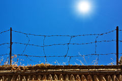 Fence with barbed wire Stock Photo
