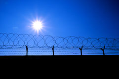 Fence with a barbed wire. And blue sky Royalty Free Stock Image