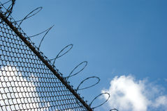 Fence with barbed wire. A wire-mesh fence with barbed wire on top in front of blue sky background Stock Photos