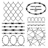 Fence barbed and wire barbwire set Royalty Free Stock Photos