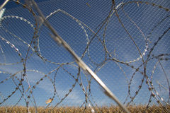 Fence and barbed wire install ready on the Hungarian - Croatian Royalty Free Stock Images