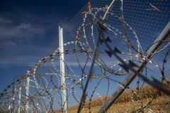 Fence and barbed wire install ready on the Hungarian - Croatian stock photo