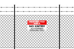 Fence with barbed wire and sign NO ENTRY Royalty Free Stock Photos