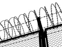 Fence with a barbed wire Stock Image