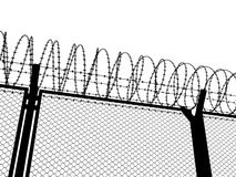Fence with a barbed wire. Silhouette illustration Royalty Free Stock Image