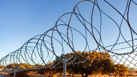 Fence with a barbed wire Royalty Free Stock Photo