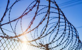 Fence with a barbed wire Royalty Free Stock Images
