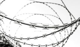 Fence with a barbed wire. Under a blue sky Royalty Free Stock Images
