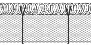 Fence with barbed wire royalty free illustration