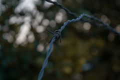 Fence barbed wire royalty free stock photos
